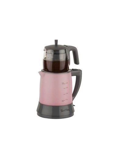 Cam Demlikli Açık Pembe Çay Makinesi-Tantitoni